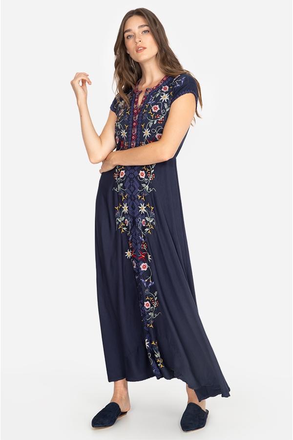 MARIPOSA STRETCH CHALLIS DRESS