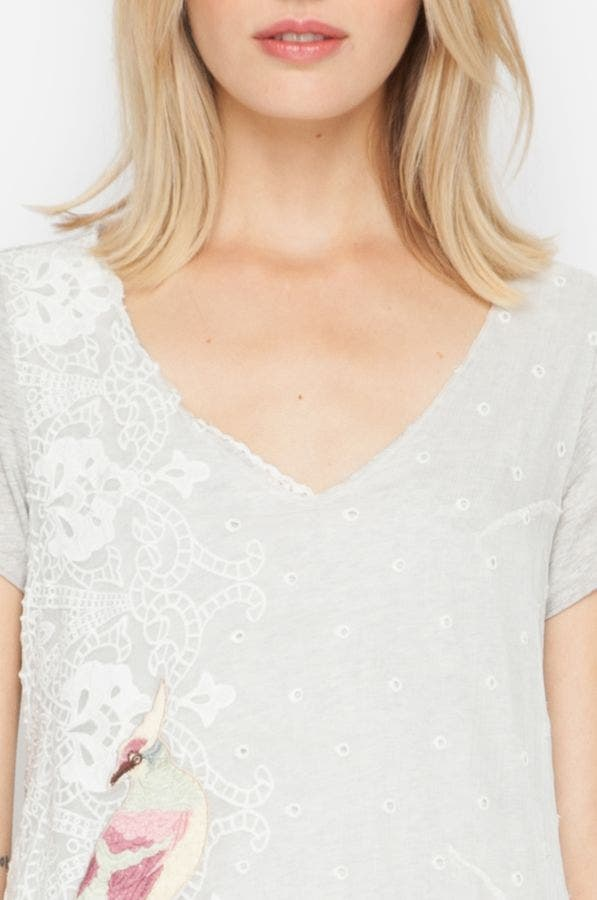 Asymmetrical Embroidered Tee