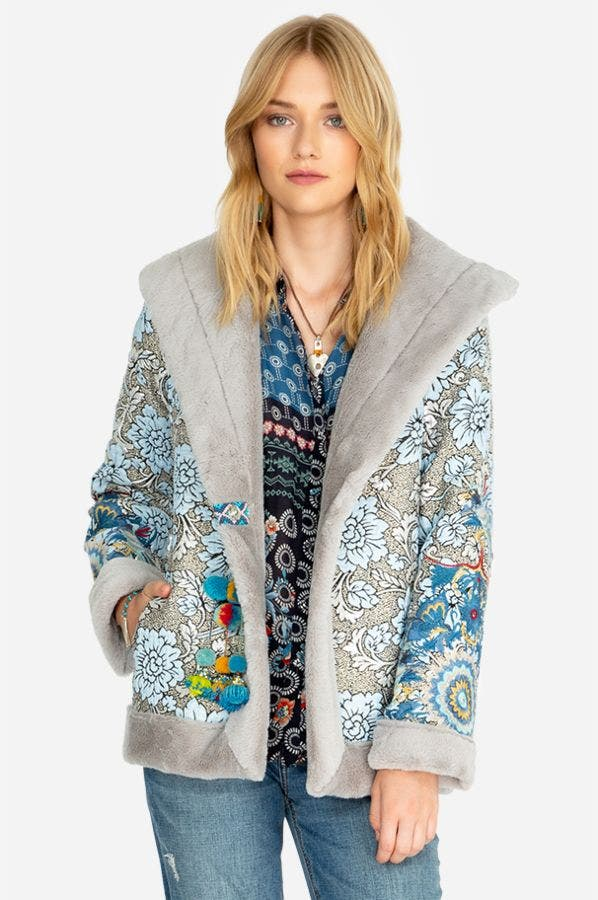 KAYA JACQUARD FUR COAT