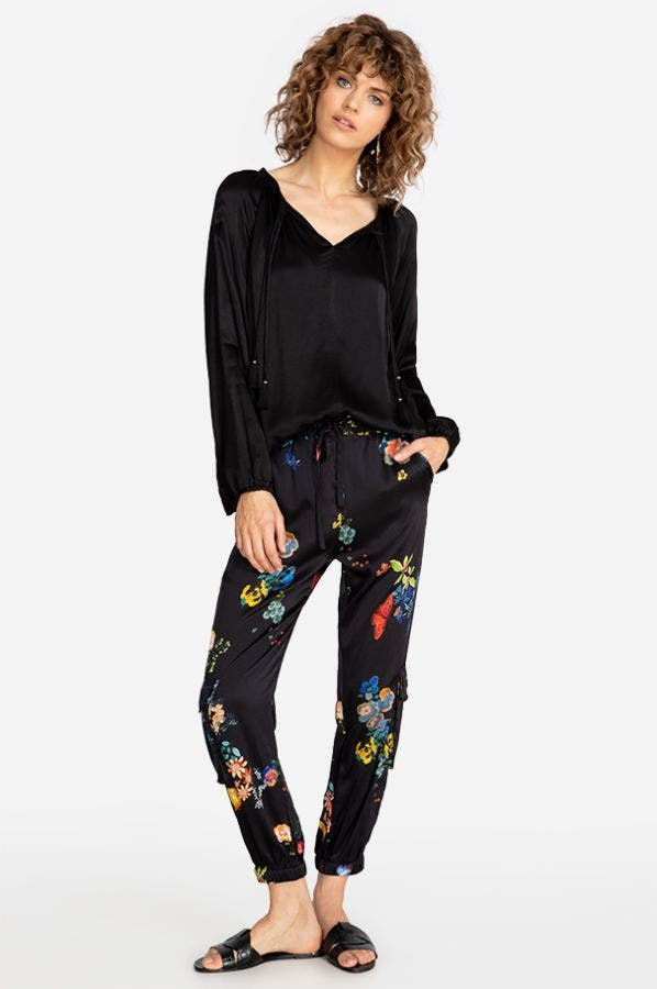 CAMELLES STRETCH SILK PANT