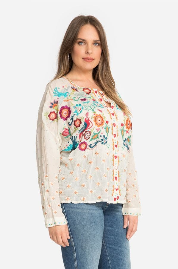 BRADY BUTTON DOWN BLOUSE-PLUS SIZE
