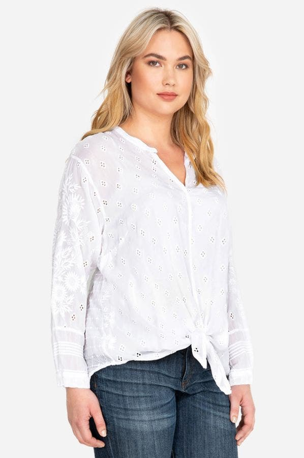 HUNTER TIE FRONT BLOUSE-PLUS SIZE