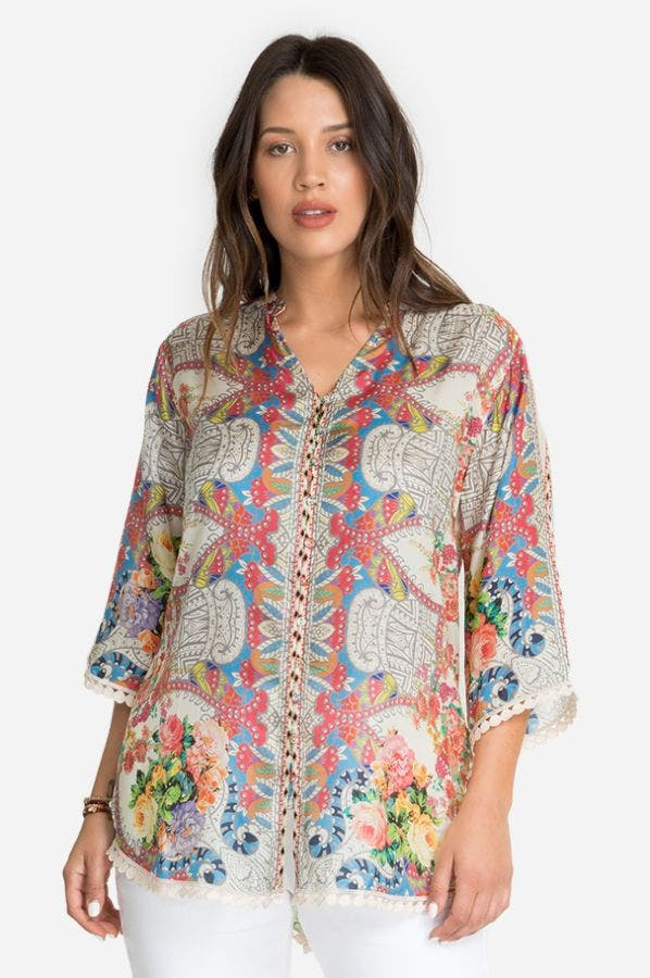 BLUSH BUTTON-DOWN BLOUSE-PLUS SIZE