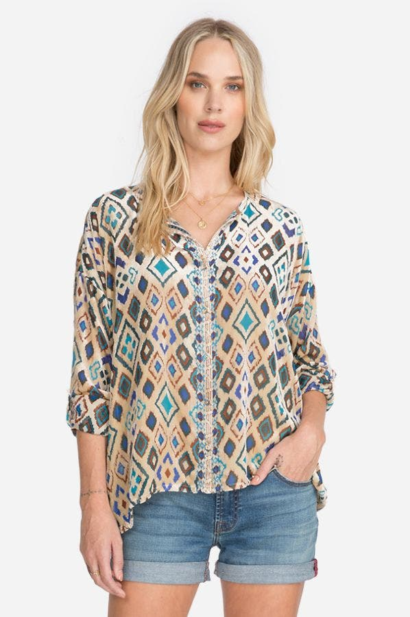 IKAT BUTTON DOWN BLOUSE