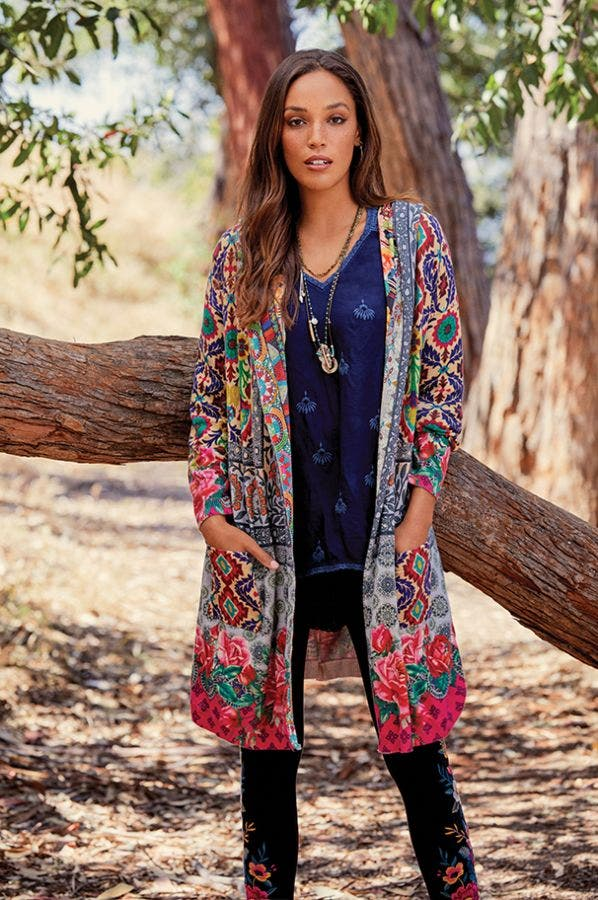 SCHELL PRINTED DUSTER-PLUS SIZE