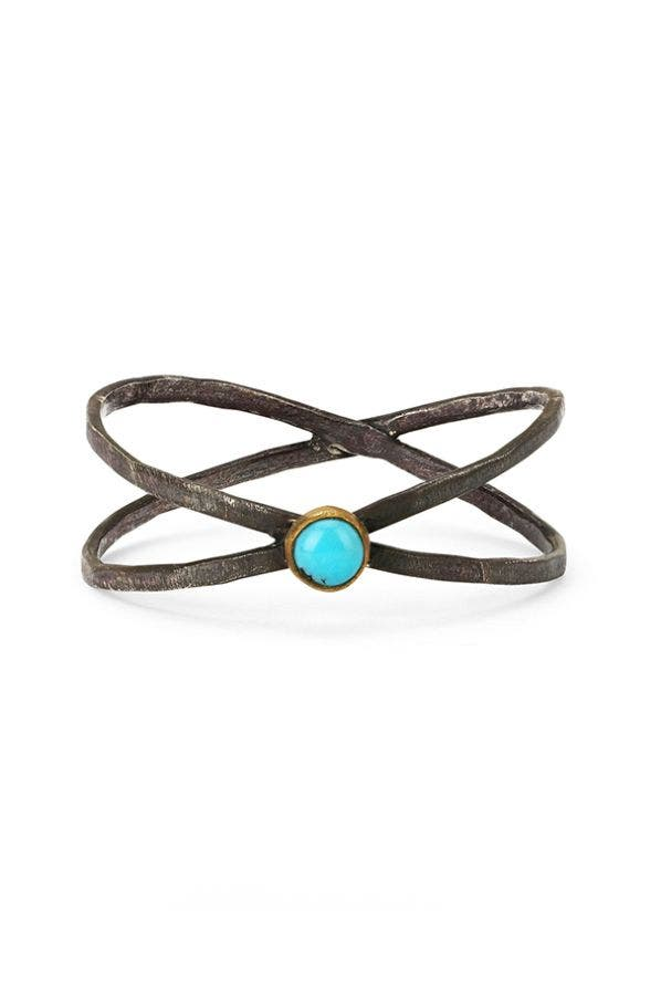 STERLING SILVER CROSSED BANDS RING W/ TURQUOISE STONE