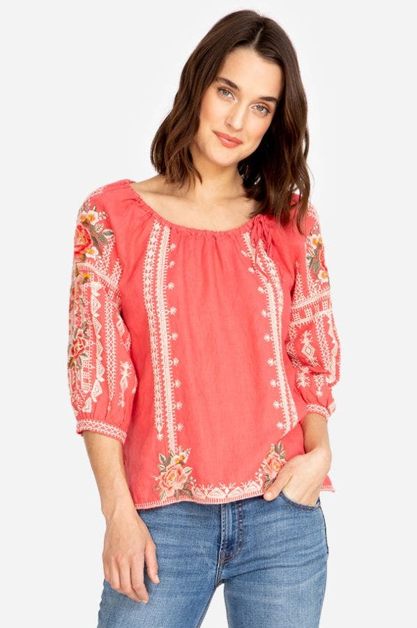 PAOLA PEASANT TIE BLOUSE