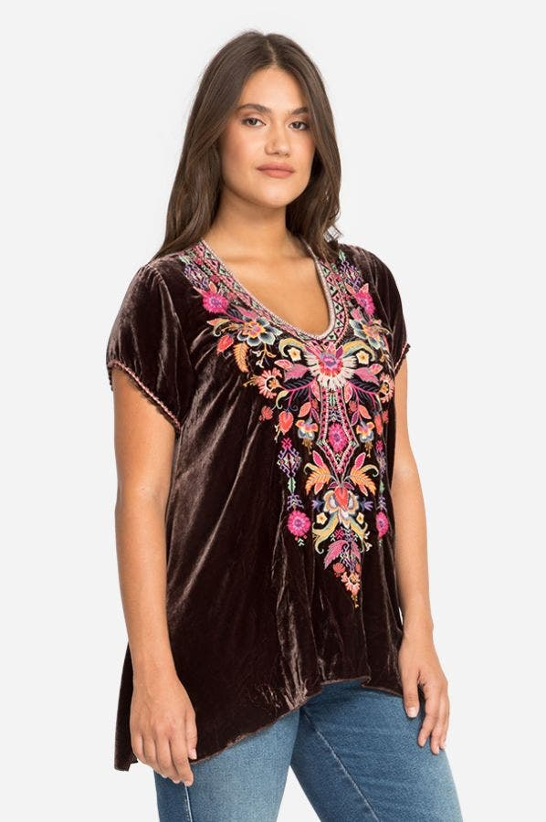 IOANA VELVET DRAPE TOP-PLUS SIZE