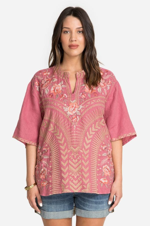 RIANNE EASY V-NECK TOP-PLUS SIZE