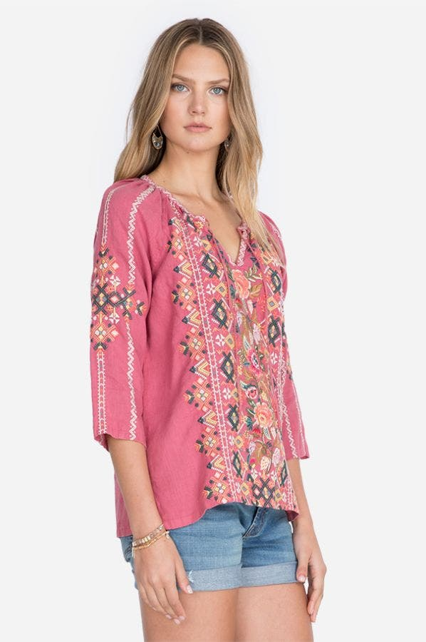 CHANDRA LINEN PEASANT BLOUSE