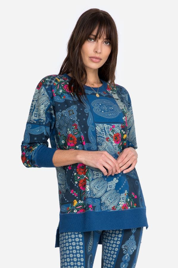 FLOWER BANDANA HIGH LOW CREW NECK TUNIC