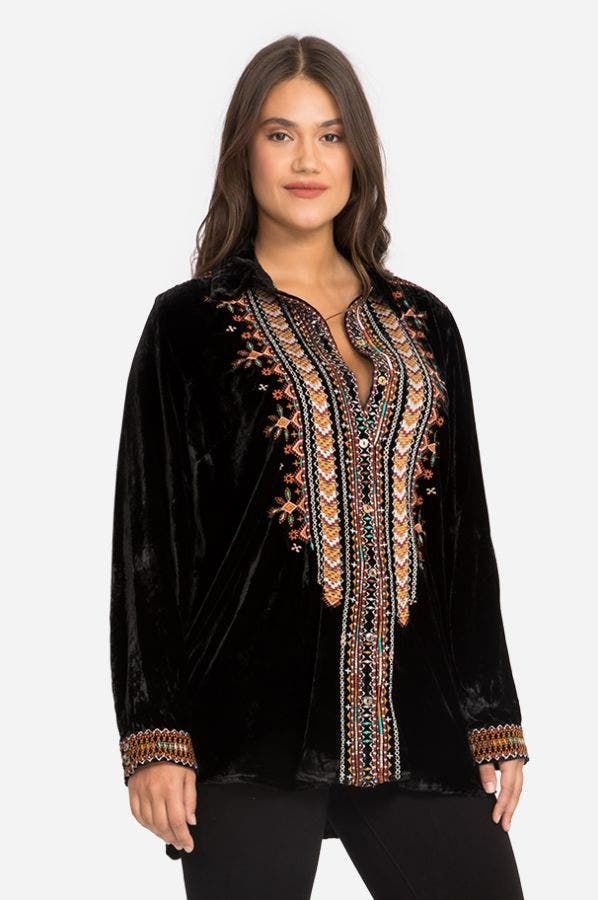 CHIRI VELVET SHIRT TUNIC-PLUS SIZE