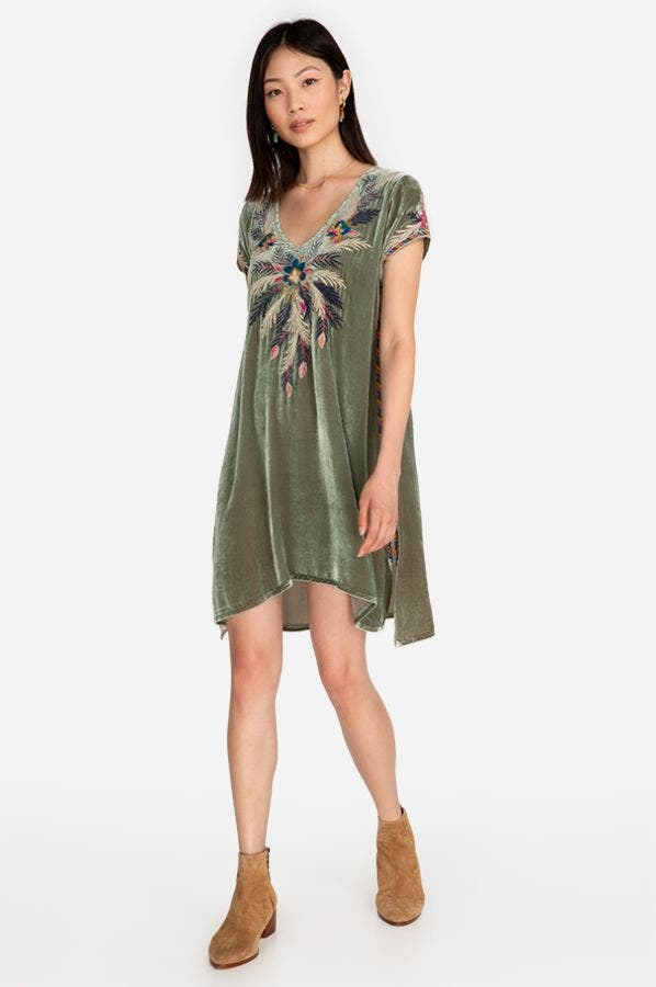 CARMELLA VELVET DRAPE TUNIC DRESS