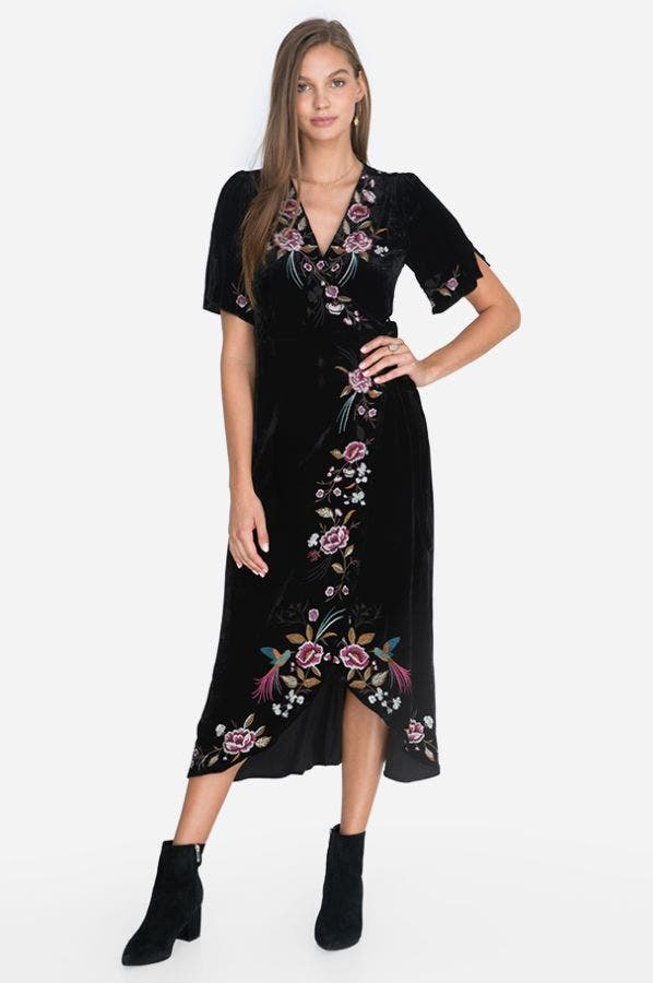 ADAH VELVET WRAP DRESS
