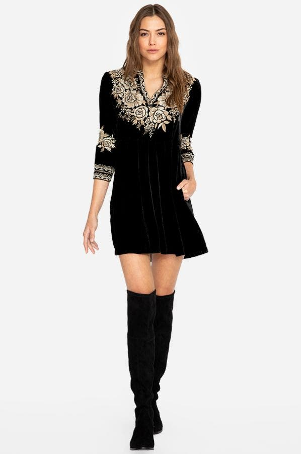 OLENNA VELVET HENLEY BOHO DRESS- PLUS SIZE