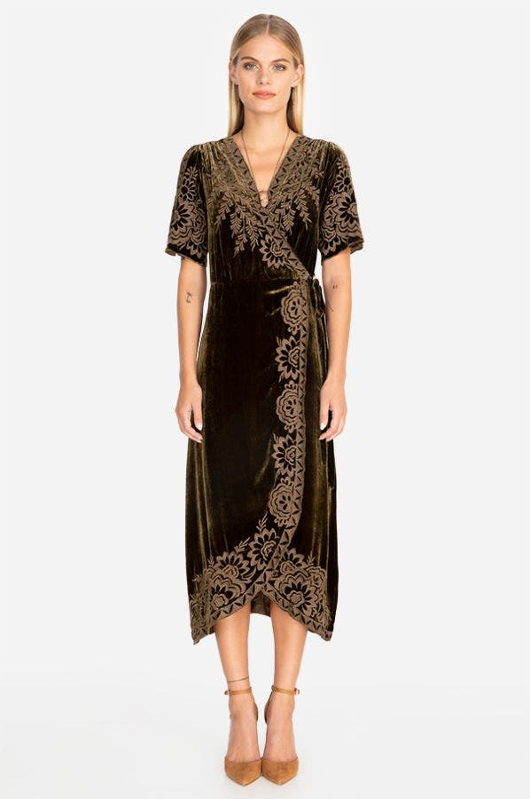 MINA VELVET WRAP DRESS