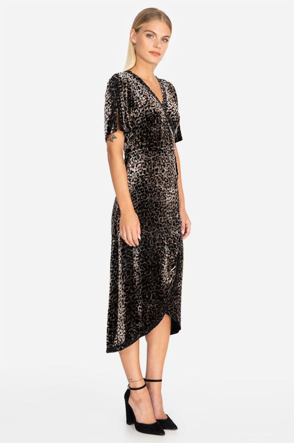 LEOPARD VELVET WRAP DRESS