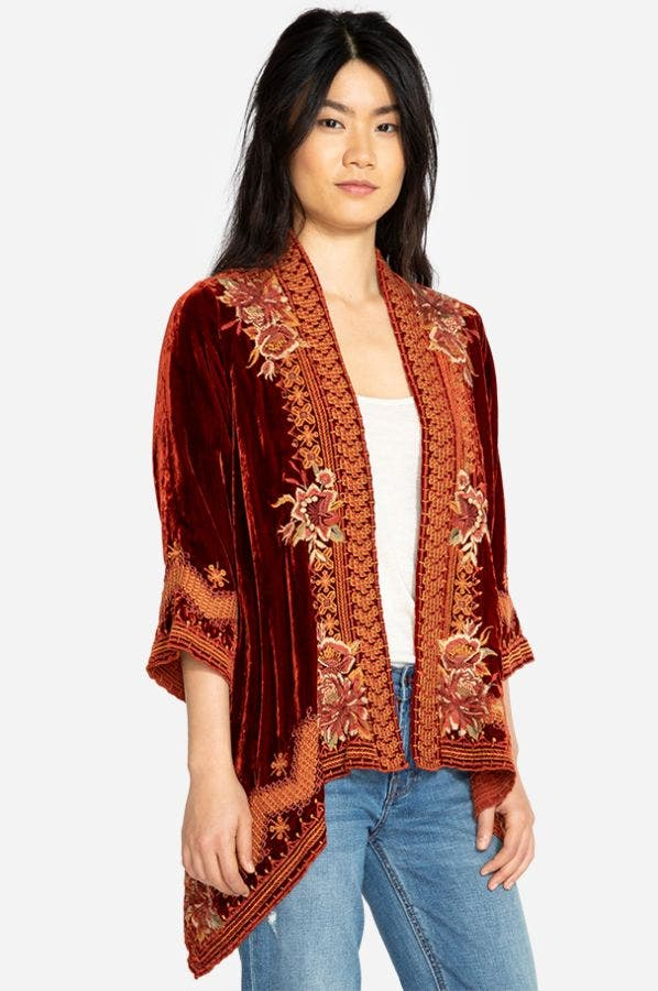 ELIM VELVET DRAPED CARDIGAN