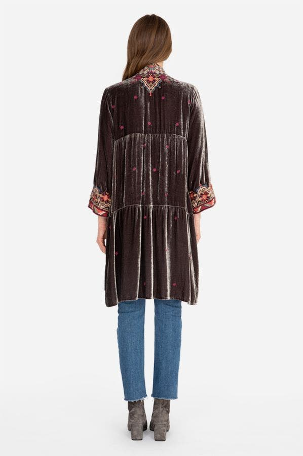 RAVI VELVET TIER DUSTER COAT