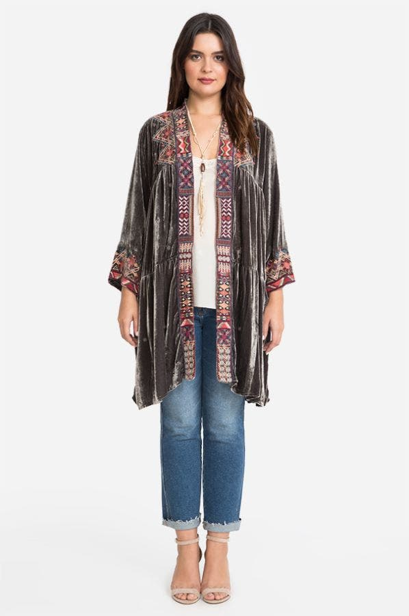 RAVI VELVET TIER DUSTER COAT-PLUS SIZE