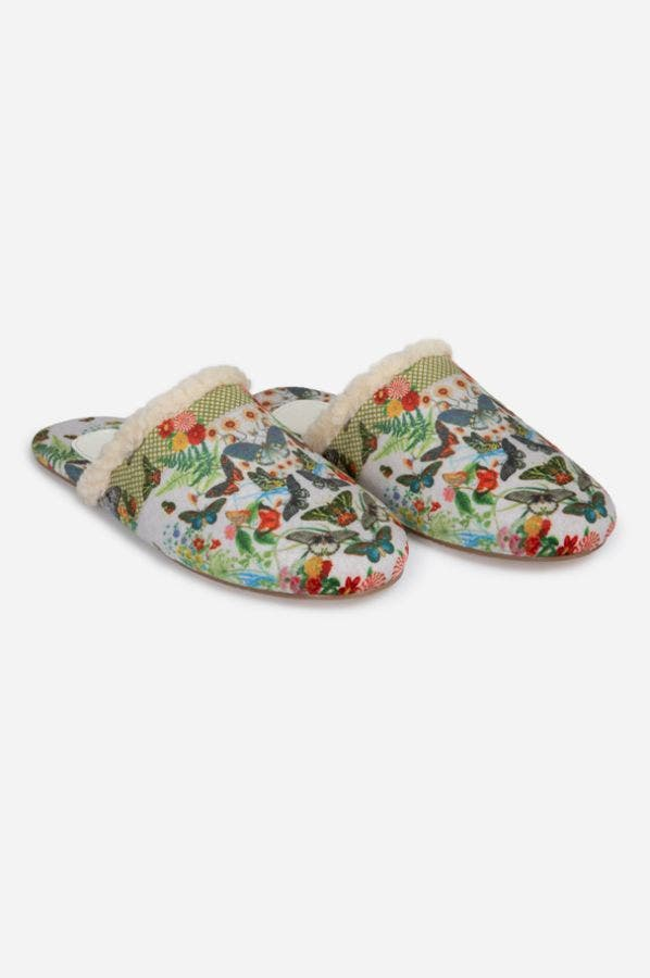 PRINTED SHEARLING SLIPPER