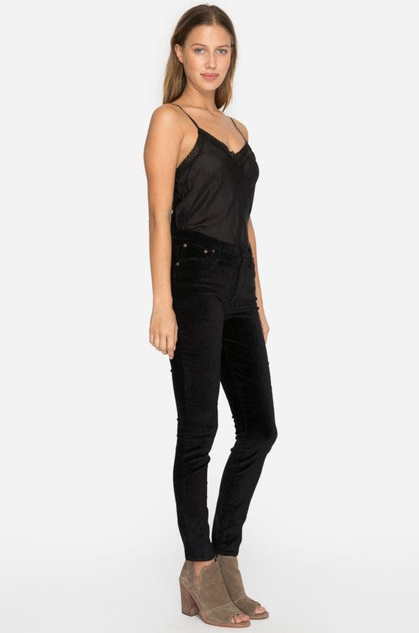 Black Velvet Embroidered Skinny Jean