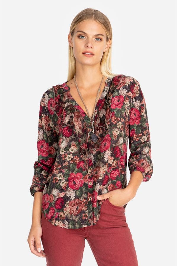 FE RUFFLE BUTTON DOWN SHIRT