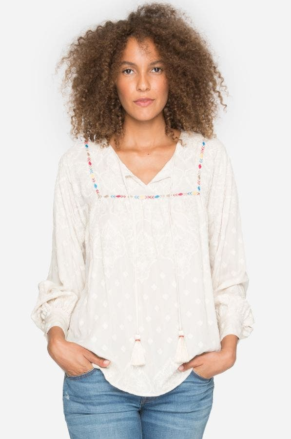 Fall Moon Embroidery Top