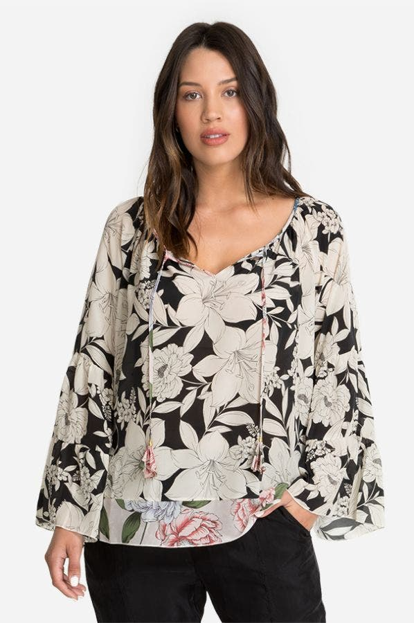 EVA TIERED SLEEVE BLOUSE-PLUS SIZE