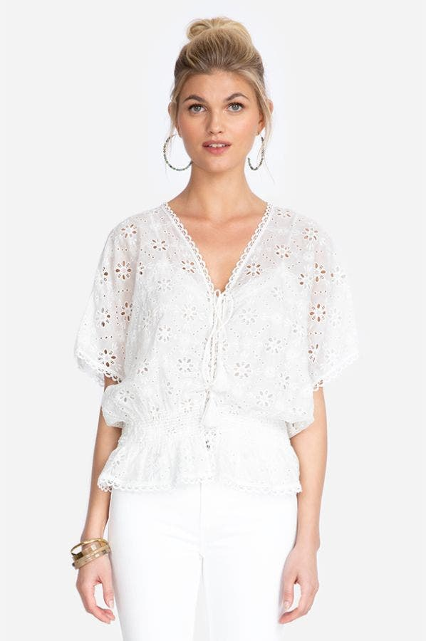 NITHYA EYELET SMOCKED TOP