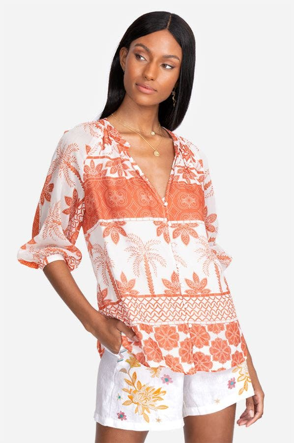 RHONDA BUTTON DOWN PEASANT TOP