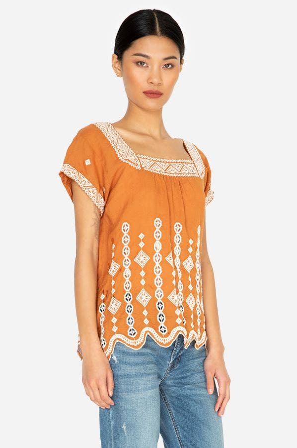 FEDERICA EMBROIDERED TOP
