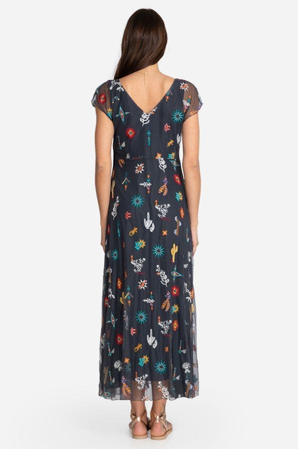 TALLY EMBROIDERED MAXI DRESS