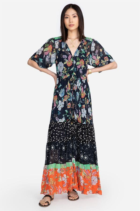 NARCISO MIXED MAXI DRESS