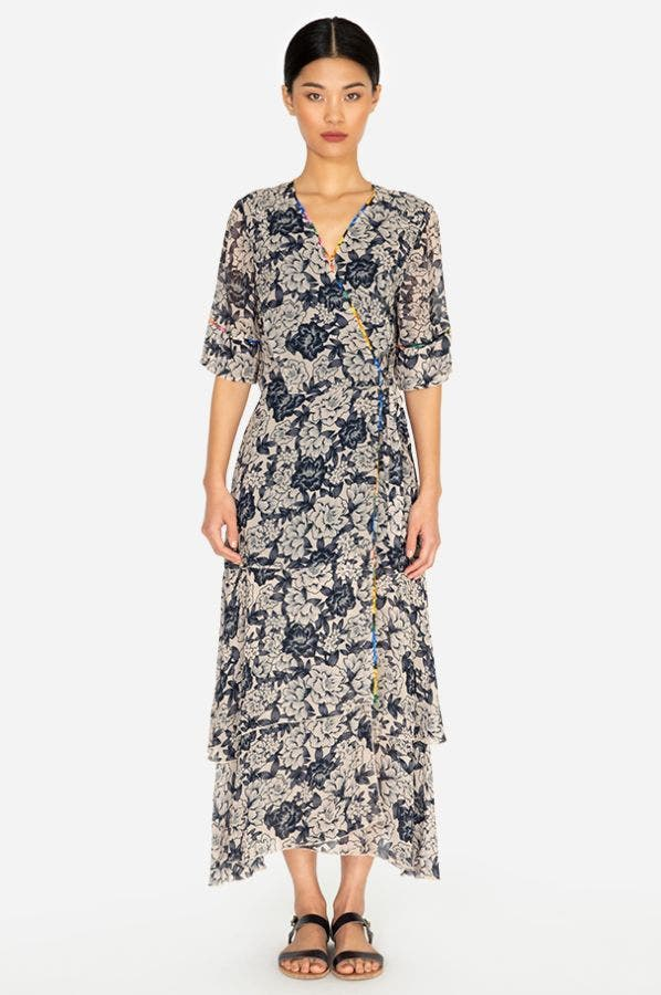 MICHA MIXED WRAP DRESS