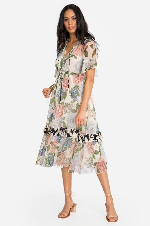 MARION MIXED MIDI DRESS