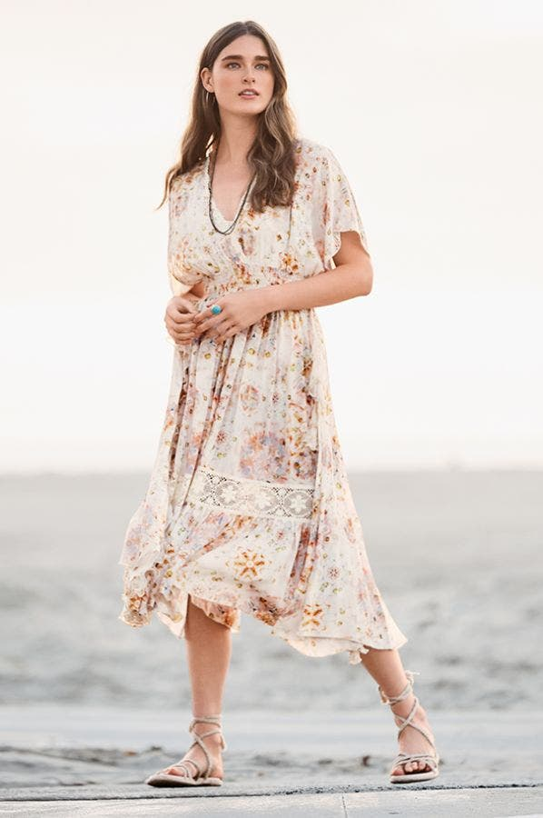 ODEYA RUFFLE MAXI DRESS
