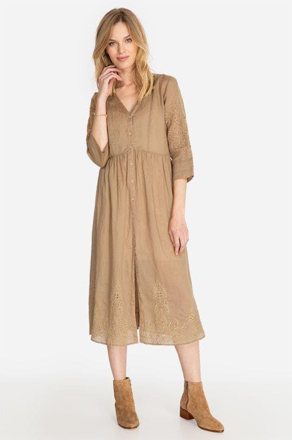 INBAR EYELET BUTTON DOWN MIDI DRESS