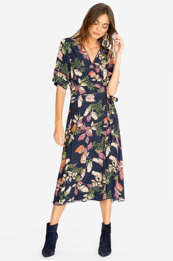 RYKER MIXED WRAP MIDI DRESS