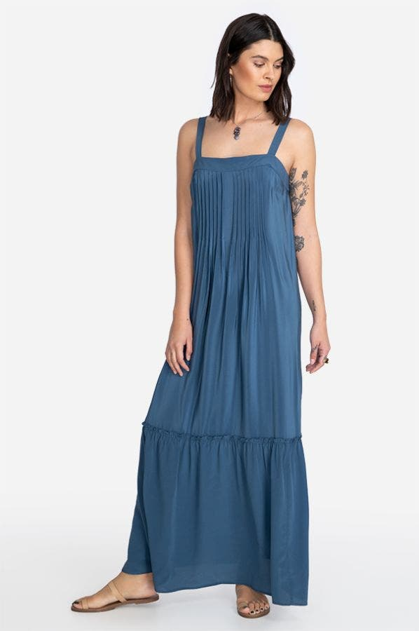 KALIF PINTUCKED MAXI DRESS