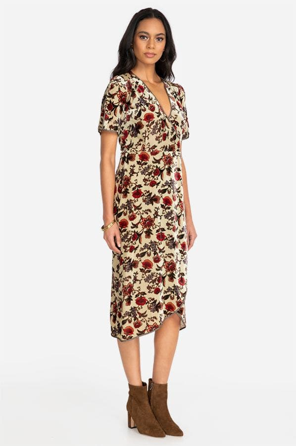 DELPHINE WRAP MIDI DRESS