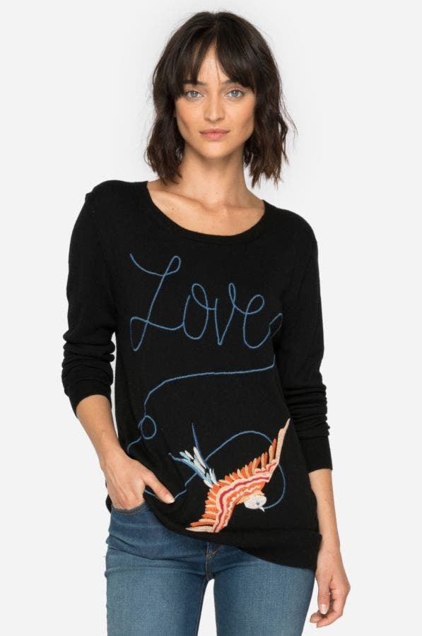 Lovebird Embroidered Pullover