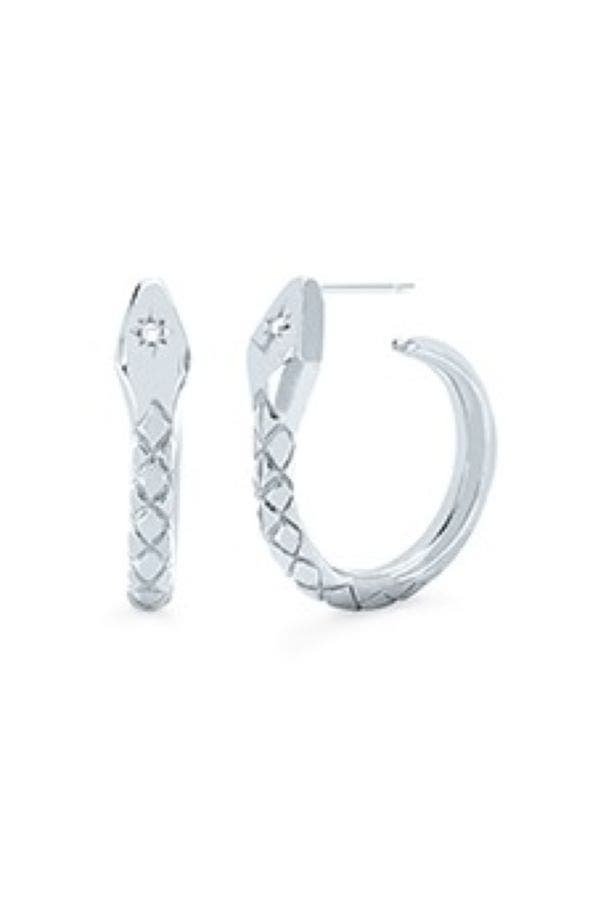 Snake Hoops With Star Set Diamond
