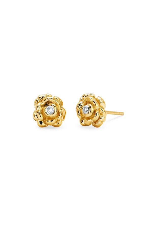 14K GOLD ROSEBUD STUD EARRINGS
