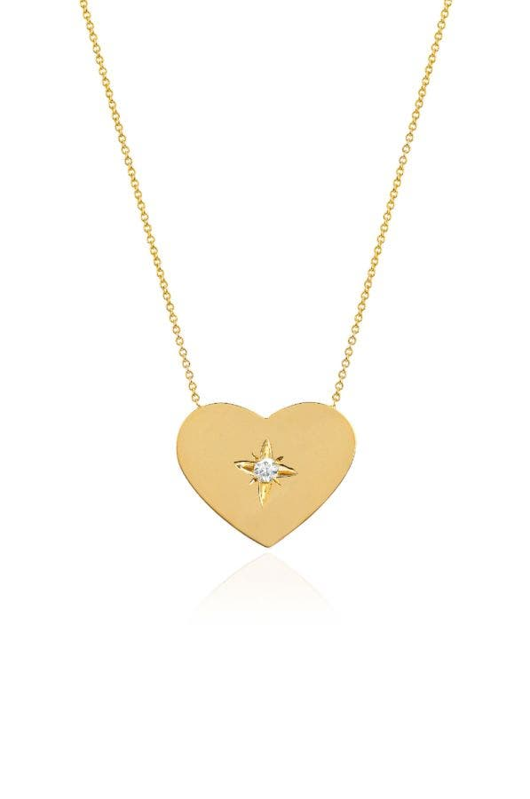 14K GOLD LARGE HEART OF GOLD WITH STAR SET DIAMOND