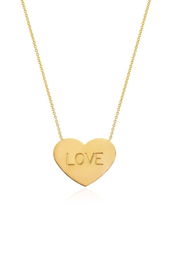 14K GOLD LARGE HEART OF GOLD LOVE NECKLACE