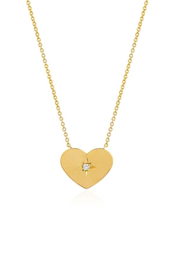 14K GOLD SMALL HEART OF GOLD WITH STAR SET DIAMOND