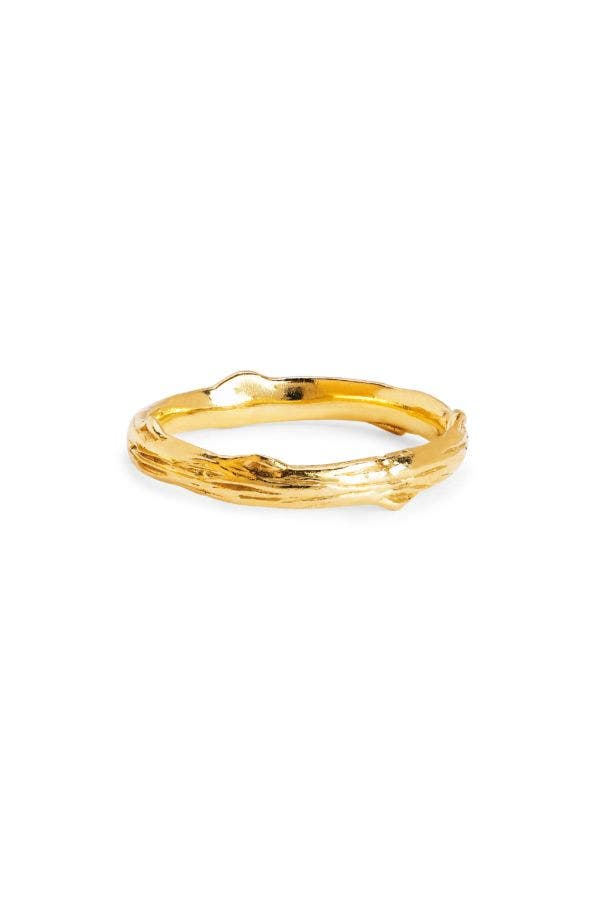 14K GOLD ROSE THORN BAND RING