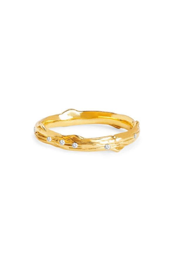 14K GOLD ROSE THORN BAND WITH SPRINKLED DIAMONDS