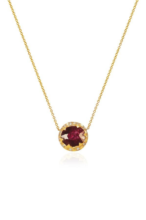 14k Gold Queen Ruby And Diamond Pendant